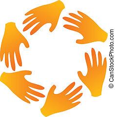 Teamwork-Hände um Logo