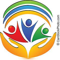Teamwork-Hände und Verbindungen Logo