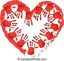 Teamwork Hand herzförmiges Logo.