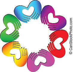 Teamwork Hands machen ein Herz-Logo