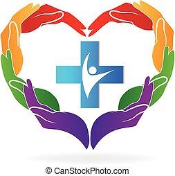 Teamwork Hands Medical Logo Vektor.