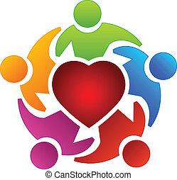 Teamwork Heart People Logo.