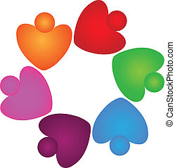 Teamwork Herzen helfen dem Logo.