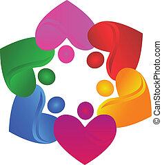 Teamwork-Herzen-Logovektor