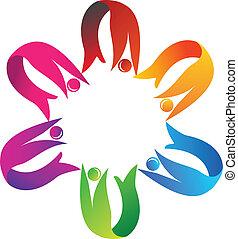 Teamwork hilft dem Logo.