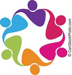 Teamwork in einem Umarmung Logo Vektor.
