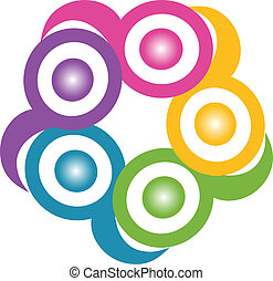 Teamwork in einer Umarmung symbolisches Logo
