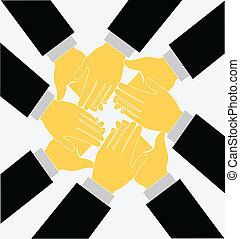 Teamwork klatscht Hände in den Logovektor