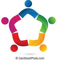 Teamwork Kollaboration Star Logo.