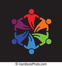 Teamwork Leute Freunde 6 Design Icon.