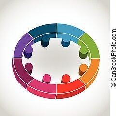 Teamwork Leute in einem Kreislogo.