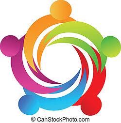 Teamwork-Leute in einem Umarmungs-Logo