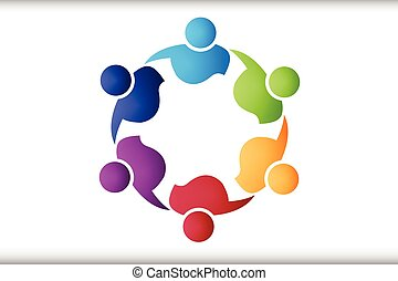 Teamwork-Leute in einem Umarmungs-Logo.