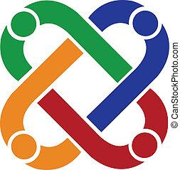 Teamwork-Leute verbinden Logo.