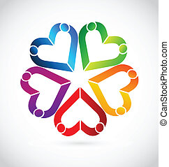 Teamwork Menschen Herzen Logo