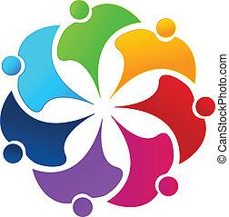 Teamwork Regenbogen Leute Blumen Logo.