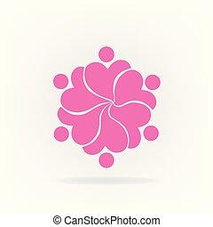 Teamwork rosa Blumen Logo.