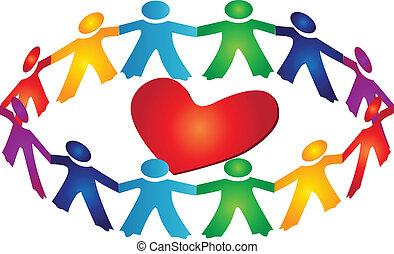 Teamwork rund um das Herz-Logo
