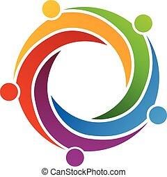 Teamwork-Swirl-Verbindung. Logodesign