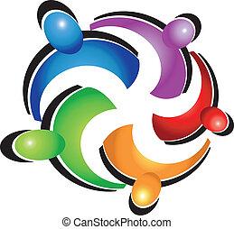 Teamwork umarmt das Logo der Leute