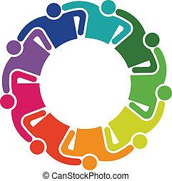 Teamwork Umarmung 9 Gruppe von Leuten Logo.