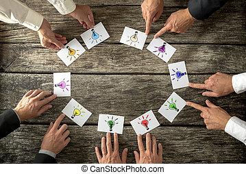 Teamwork und Brainstorming Konzept.