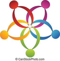 Teamwork unterstützt das Blumen-Logo