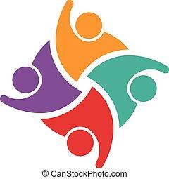 Teamwork von 4 swoosh people logo