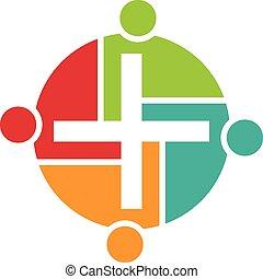 Teamwork von religiösen Leuten Logo