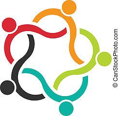 Teamwork Wave 5 Logo von Menschen.