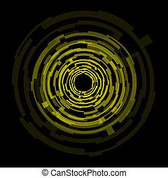 Technologie abbrechen, gelbe Kreise im Hintergrund