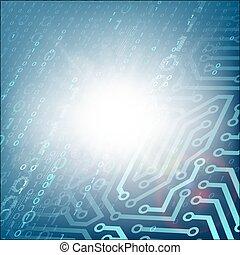 Technologie Hintergrund mit Schaltkreis und Binärcode.