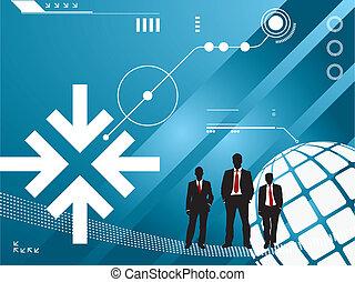 Technologie-Hintergrund mit Silhouette von Geschäftsleuten