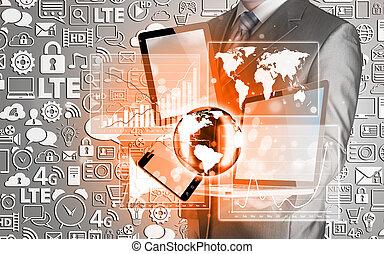 Technologie in den Händen von Geschäftsleuten.