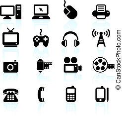 Technologie- und Kommunikationsdesignelemente.