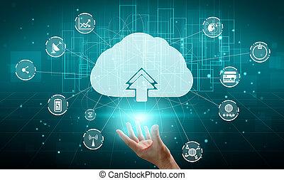 technologie, wolke, lagerung, informationen, online, daten, anteil, rechnen, global