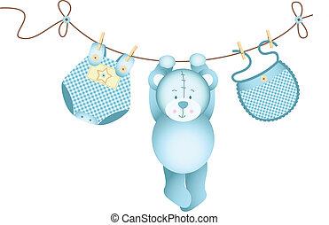 Teddy-Bär-Junge hängt