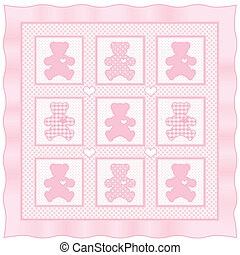 Teddybär-Baby-Quit, Pastell-Pink