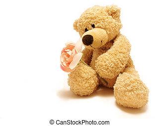 Teddybär gibt Rose