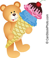 Teddybär mit Eiszapfen