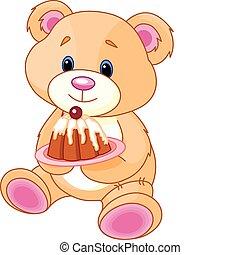 Teddybär mit Kuchen
