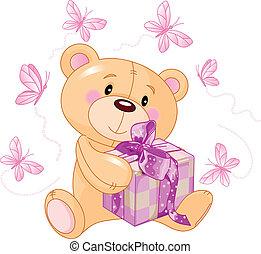 Teddybär mit rosa Geschenk