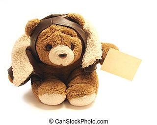 Teddybär Pilot mit einem Blaknoten, isoliert im weißen Hintergrund