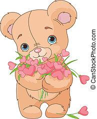 Teddybär schenkt den Herzen Blumen