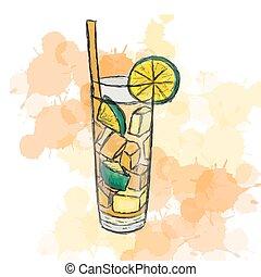tee, eis, cocktail, lange insel