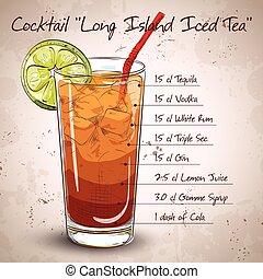 tee, vereiste, cocktail, lange insel