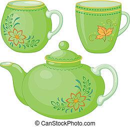 Teekanne und Tassen