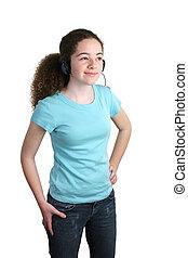 Teen blaue Hemd Kopfhörer
