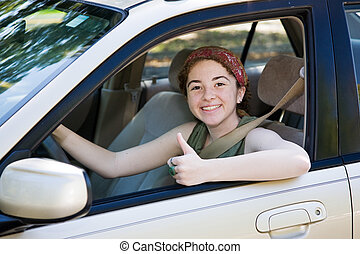Teen Fahrer Daumen hoch