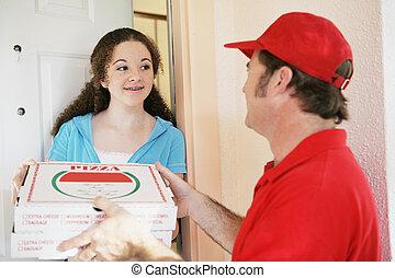 Teen Girl bestellt Pizza